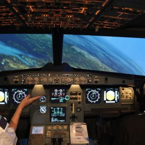 Airbus Simulator Cockpit with Two Pilots